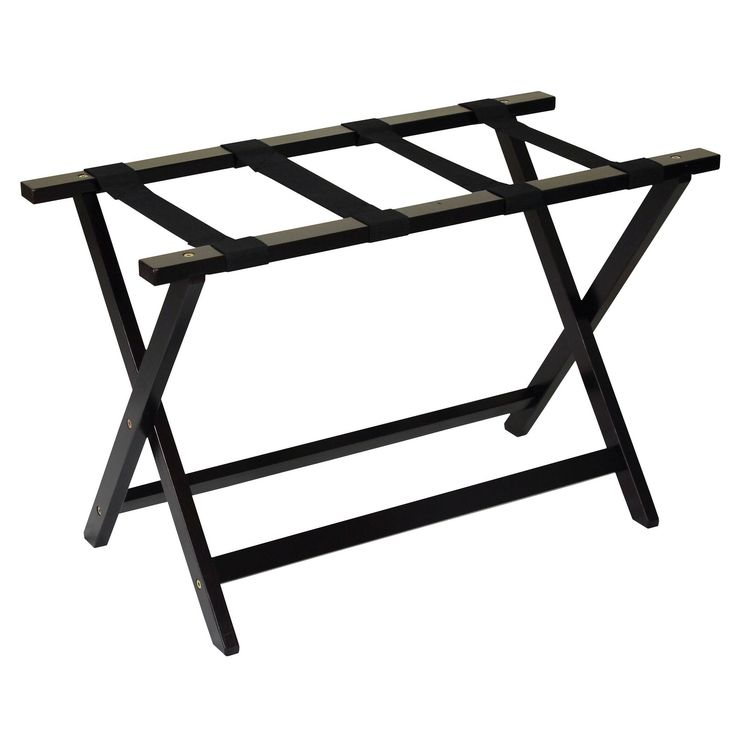 Welcome your guests with this extra wide hotel style luggage rack. Made of solid wood, this sturdy luggage rack will help your guests while packing and unpacking.
