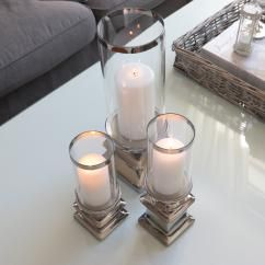 Ljuslykta med glass Lyx 38 cm - silver