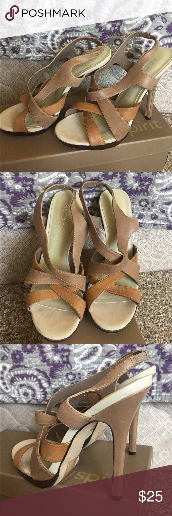 Neutral colored sandals from Aldo Great neutral sandals. Goes with pretty kick everything! Worn twice. Very versatile and stylish. Size 7 ALDO Shoes Sandals