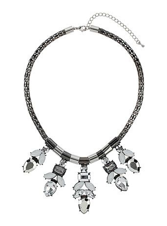 White   silver drop necklace
