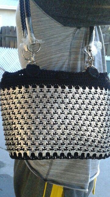 Silver/blackberry bucket pop tab purse