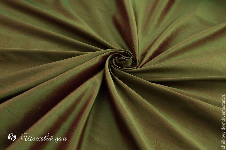 Купить Шелк зеленый с красным отливом хамелеон SCD-80 - болотный, зеленый шелк