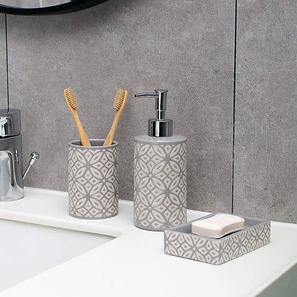 Geo Tile Grey Ceramic Tumbler In 2020 Ceramic Lotion Dispenser Ceramic Tumbler Lotion Dispenser