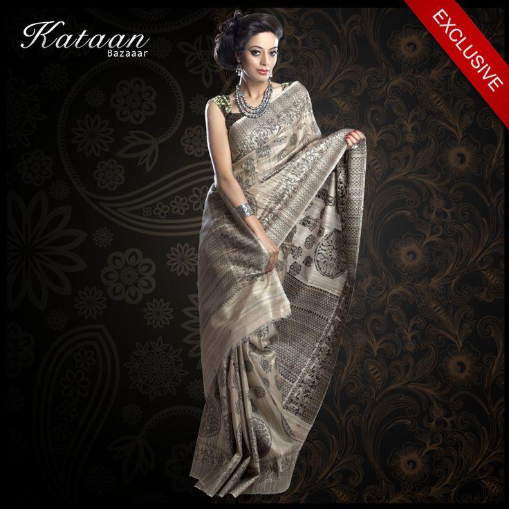 Beautiful #Indian #Handwoven #Beige #Saree woven in #Black resham