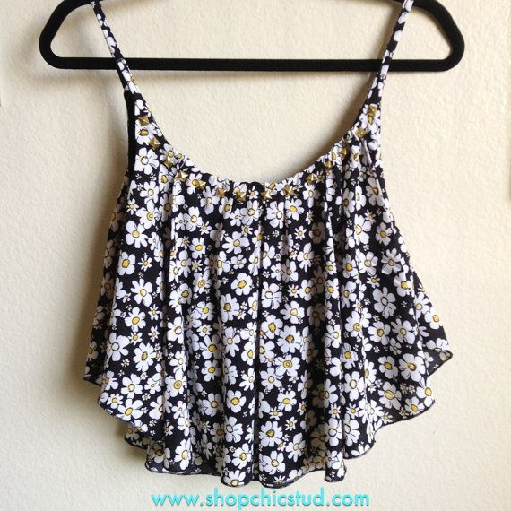 Studded Crop Top Handkerchief Tank - Daisy Flower Floral Print - Gold, Silver or Black Studs -