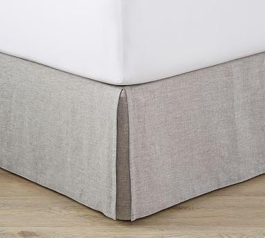 Belgian Flax Linen Bed Skirt, Cal. King, Flagstone