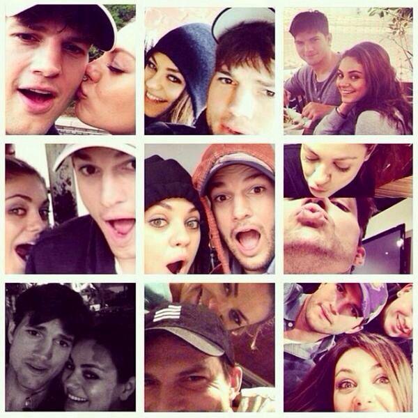 Mila Kunis and Ashton Kutcher cute selfies