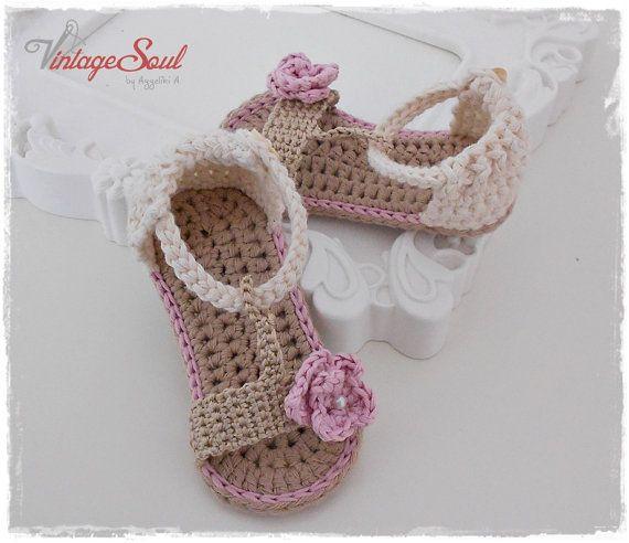 Sandalias de ganchillo bebé niña  hilados por Vintagesouletsyshop