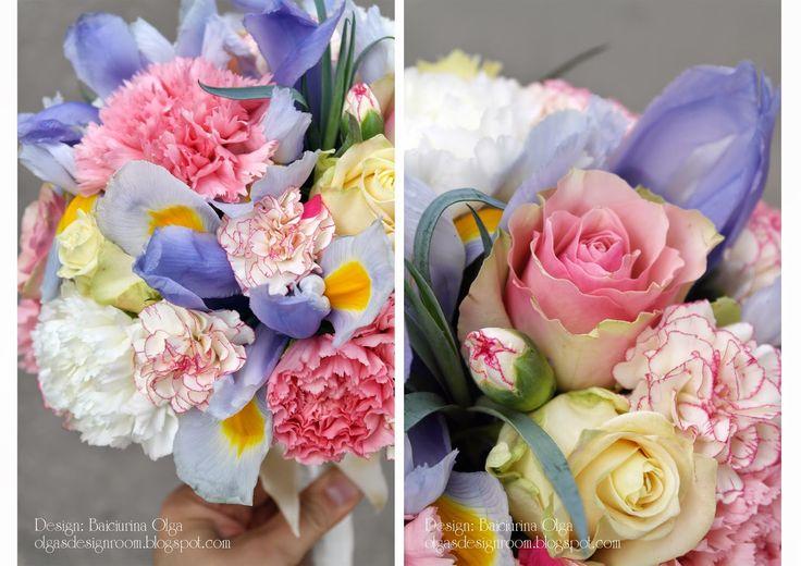 Baiciurina Olga's Design Room: Нежный розово-голубой букет невесты.-Pink&Blue tender wedding bouquet.