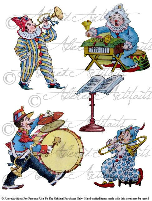 Printable Clown Band Paper Doll Printable Circus Clip Art Jesters Puppets Scrap Theater Puppets Digital Collage Sheet Instant Download