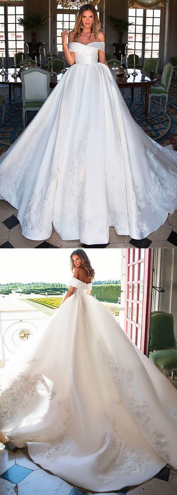 Fascinating Satin Off-the-shoulder Neckline Ball Gown Wedding Dress With Lace Appliques & 3D Flowers & Beadings