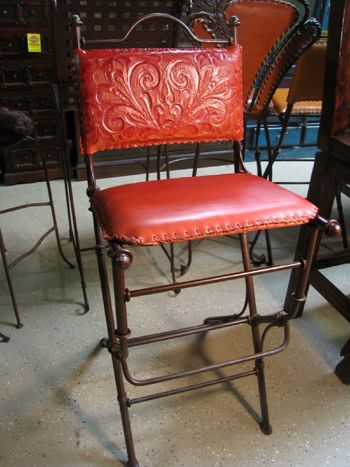 Hortencia Buckstiched Tooled Leather And Iron Stools From Mexico Wholesale Deal Site