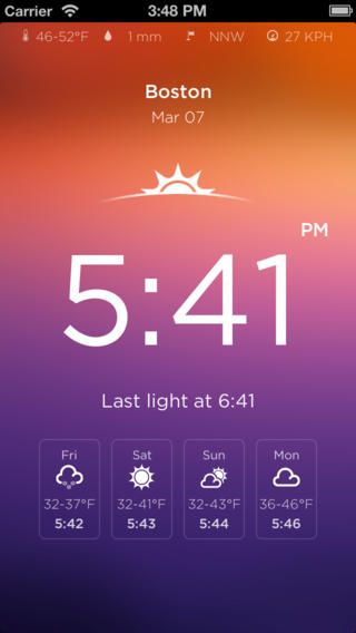 Rise - The Sunrise Sunset Calendar.  A iPhone app for the times for sunrise and sunset around the world.