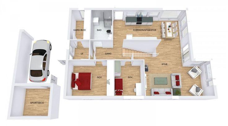 Fra vindfanget er det inngang til en praktisk separat garderobe. Bak den sentralt plasserte rettløpstrappa, er kjøkkenet «skjult». Dette skaper avgrensede rom selv om det er en delvis åpen løsning. Spisestuen binder kjøkkenet og stuen sammen. Stuens størrelse og fasong gir flere muligheter for møblering, med god plass til sofagruppe, tv-møbler og en lesekrok. Prikken over i'en er den sjenerøse terrassen som går i vinkel utenfor stua og kjøkkenet. Her har du plass for både møbler og utegrill.