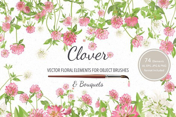 ad: FREE this week Vector object brushes. Vector floral elements with object brushes. 74 flower vector elements (stems, leaves and flowers), plus 5 illustrations with bouquet of Clover.Clover by Peolla on @creativemarket