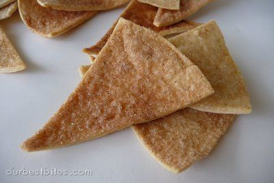 """Baked Cinnimon Chips    Preheat oven to 350 degrees  Brush a little melted butter on one side of canned or bagged 6"""" (flat) taco shells. Sprinkle liberally with a cinnamon/sugar mix.  Slice in small wedges with pizza cutter.    Bake about  10- 12 minutes, until you see edges start to curl and the chips get crispy."""