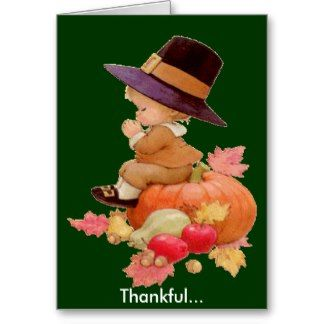 Vintage Pilgrim Boy Praying on Pumpkin Greeting Cards