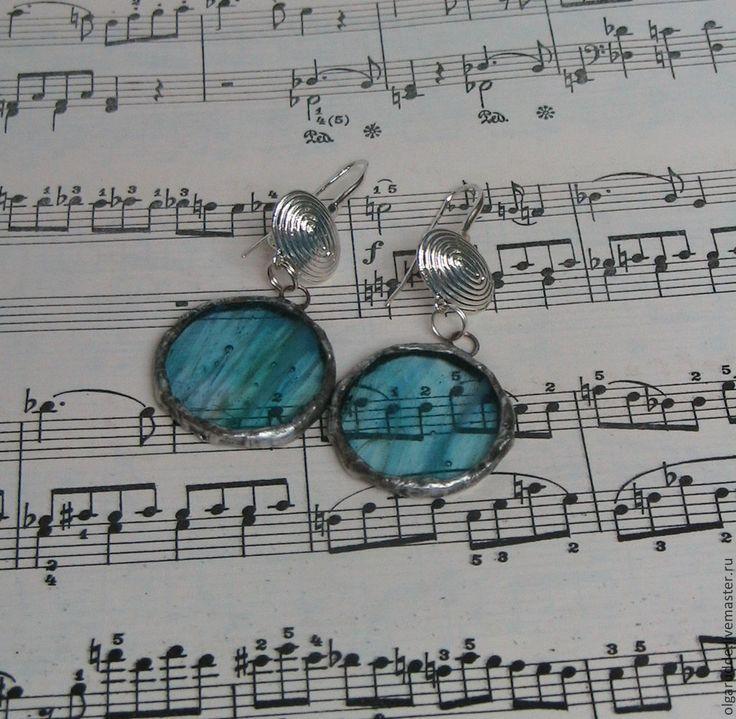 """Купить серьги """"Мелодия ветра"""" Тиффани - бирюзовый, серьги, цветное витражное стекло, тиффани, припой"""