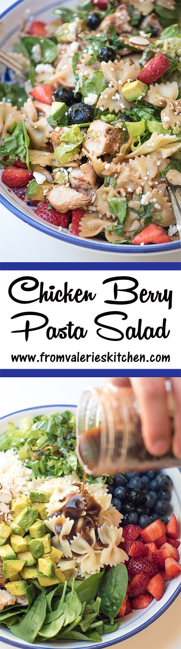 This salad includes a little bit of everything you need for a complete nutritious meal. Fresh greens, gorgeous, ripe berries, lean protein, pasta, and more all dressed in a honey balsamic dressing. Delicious! ~ #freshworks #freshworkscrowd @rubbermaid #ad