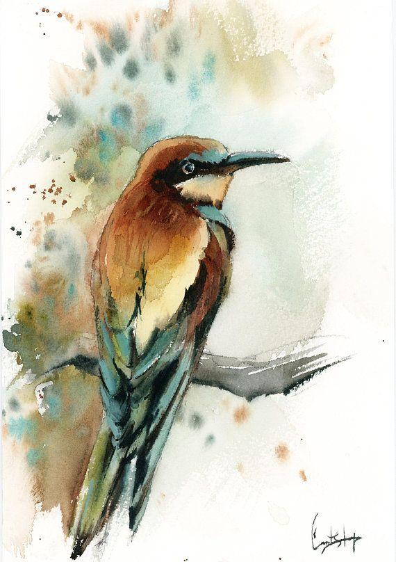 Bird Painting Original Watercolor Painting Of Bird Bee Eater