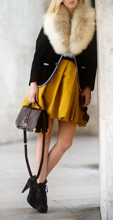 Faux fur collar, mustard skirt with navy... I am a fan.