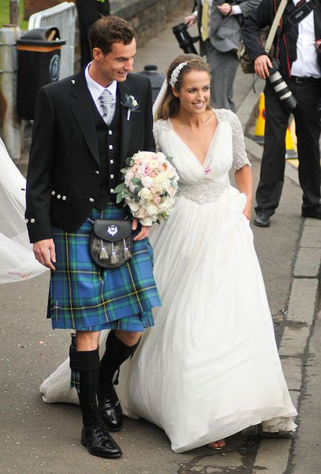 Kim Sears marries Andy Murray in Jenny Packham, 2015.