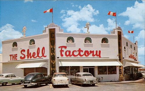 The Shell Factory, Fort Myers FL--note the cars are old but the last time we went, not that many years ago, the Shell Factory was still in business and covered several acres.  It was a treat and carried me back to another era when a trip to Florida always meant seashell shopping!