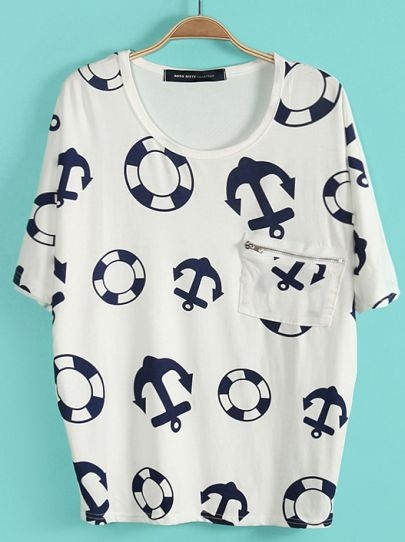 White Batwing Sleeve Anchor Lifebuoy Print T-Shirt