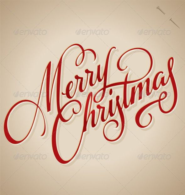 'Merry Christmas' Hand Lettering (vector) #GraphicRiver MERRY CHRISTMAS hand lettering – handmade calligraphy; vector