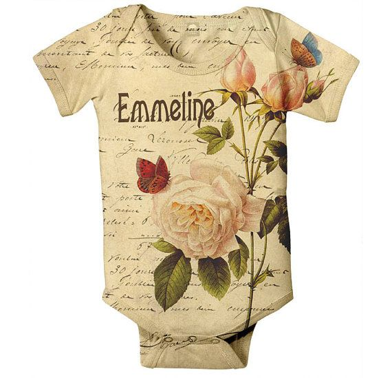 Baby Girl Onesie  Personalized French Rose by SimplySublimeBaby, $24.95