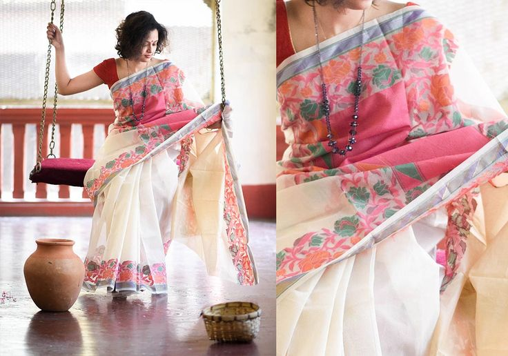 Cotton Sarees - White With Rose Border By Suta - PC - 15727 - Main