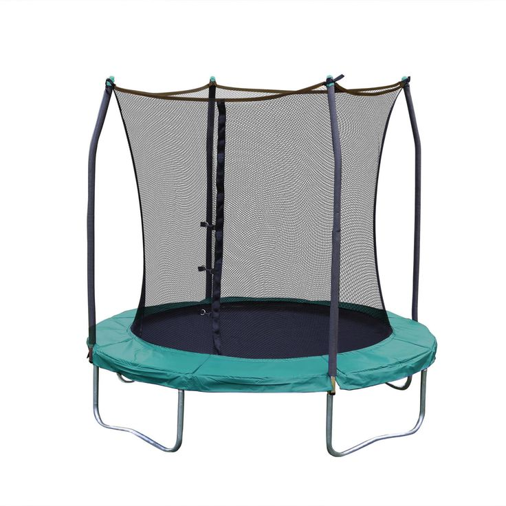 """Round Trampoline 8"""" Bounce Backyard Outdoor Sport Safety with Enclosure Green"""