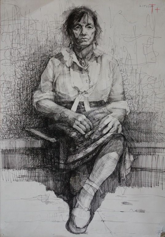 "Artist: Kristine Jansone; Pen and Ink, 2000, Drawing ""Woman"""