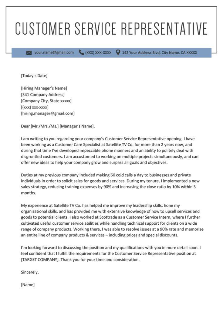 Customer service representative cover letter sample in