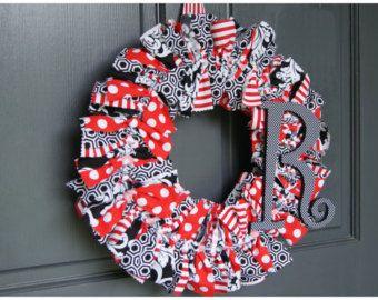 GEORGIA BULLDOGS UGA Wreath. Football wreath. College dorm wreath. Go Dawgs. Atlanta Falcons wreath.@Michelle Griffeth