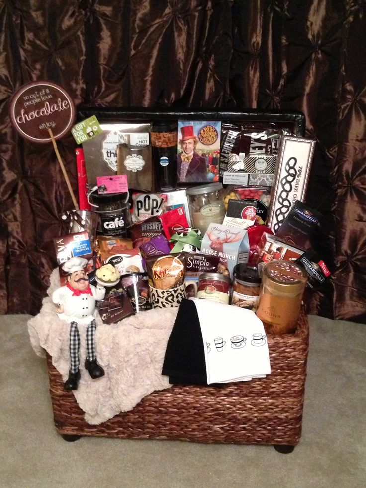 Chocolate lovers gift basket. Made for a school fundraiser. Each class does a basket for a silent auction.