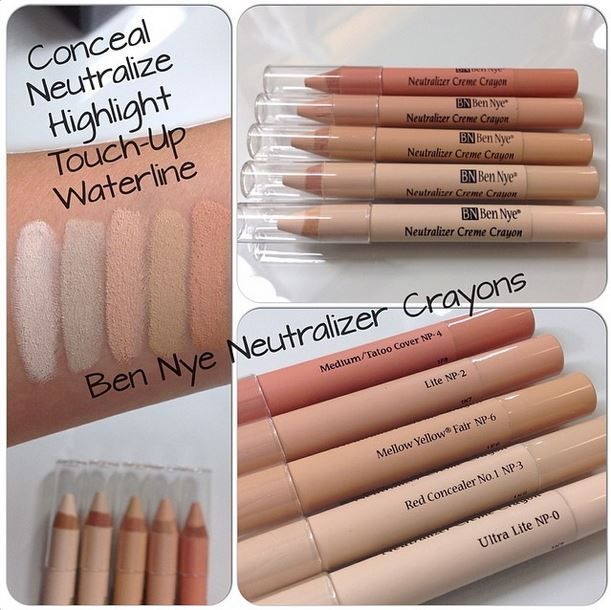 Color (or conceal) yourself happy with Ben Nye's Neutralizing Crayons! Smooth, creamy pigment that cancels out redness, bluish under eye circles, preps tattoos for concealment and cleans up your winged liner and red lip. Draw onto browbones, cheekbones, cupid's bow or the bridge of the nose and blend away for highlighting in a snap.