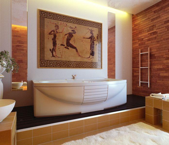 Elegant Bathroom Color Schemes: Elegant Greek Style Bathroom With White And Brown Color