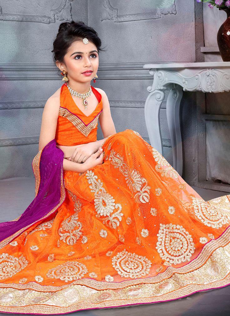 Reception wear orange kids wear lehenga