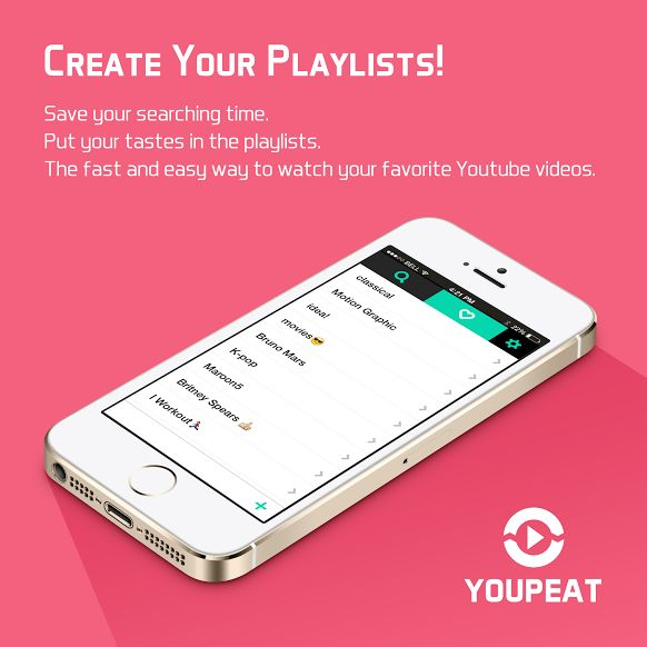 *CREATE YOUR PLAYLISTS!* Save your searching time. Put your tastes in the playlists. The fast and easy way to watch your favorite Youtube videos. Web: http://youpeat.me Appstore: https://itunes.apple.com/app/youpeat/id696538956?mt=8   #youpeat #youtubeApp #youtubeplayer #videoplayer #playlist #appui #iphoneyoutube #iphoneUI #simpleui #flatui