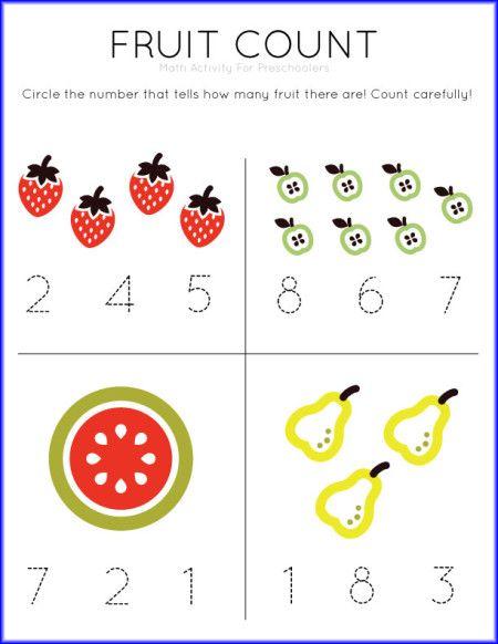 Fruit Count Math Worksheet   Math activities preschool ...
