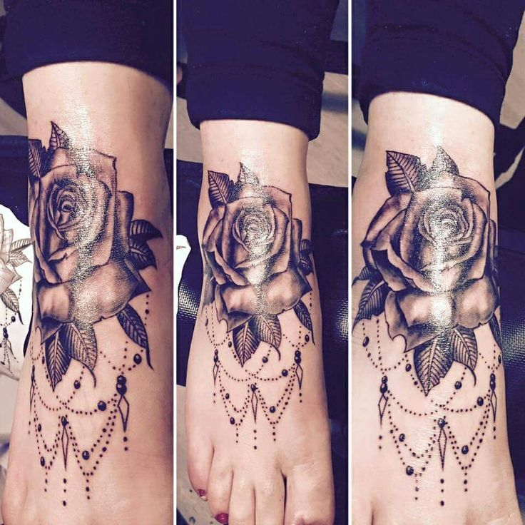 Foot tattoo... realistic, rose, black, grey, foot, cute, clean, fresh, girly