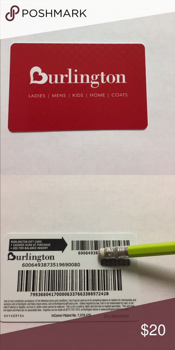 $25 Burlington Gift card Gift card to Burlington $25 balance.   Bundle with another item for just one shipping fee! Burlington Other