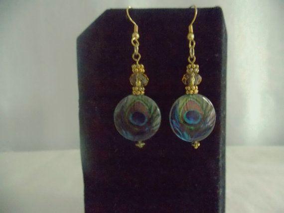 Prachtige Peacock Feather oorbellen - Dangle Oorbellen - platte ronde kralen - goud vergulde Earring haken
