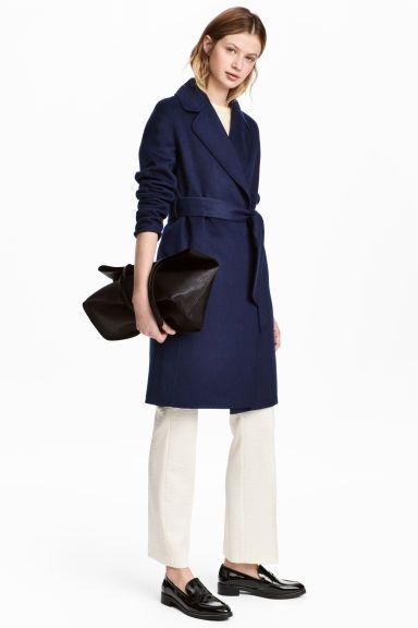 Felted wool-blend coat - Dark blue - Ladies | H&M GB 1