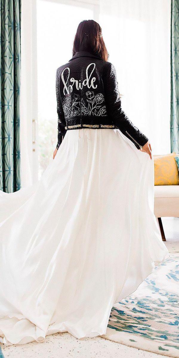 33 Chic Bridal Dresses: Styles & Silhouettes ❤ bridal dresses flowy straight with jacket kgohhsnap ❤ See more: http://www.weddingforward.com/bridal-dresses/ #weddingforward #wedding #bride