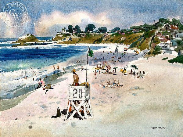 Art Riley - Life Guard Tower 20, Laguna Beach, c. 1960's - California art - fine art print for sale, giclee watercolor print - Californiawatercolor.com