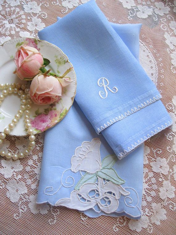 Two Blue Tea Towels Blue Hand Towels Monogrammed Towel