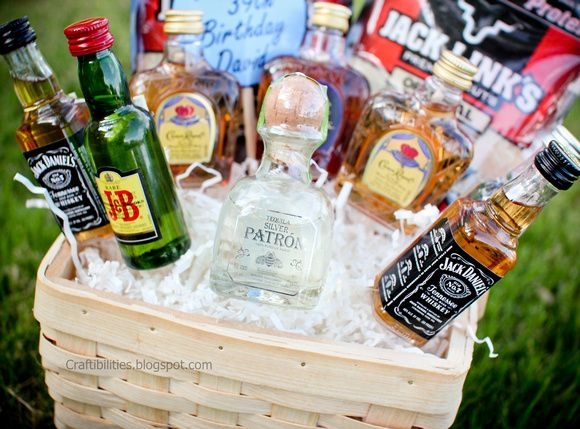 Craftibilities: Basket of BOOZE :) Fun GUY birthday gift idea