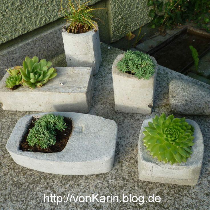 Beton-Pflanzgefäße - selbstgemacht ///  concrete planters